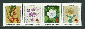 Surinam OS #9 MNH STRIP Orchids Flowers FLORA Red Cross $$