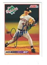 Jack Morris AUTOGRAPH 1992 SCORE ROOKIE & TRADED CARD SIGNED MINNESOTA TWINS