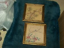 "Vintage 2 Windsor Art Product Pictures Plum & Peach Flowers 8"" x 8"" Bamboo Frame"