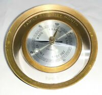 Antique ENDURA 1962 FAMILY SECURITY MONTH Brass and Glass heavy Desk Barometer