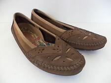 HUSH PUPPIES SZ 38/39 US 7.5M BROWN NUBUCK LEATHER CASUAL BALLET FLATS WOMENS