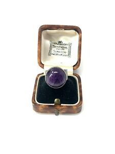 Large Heavy Vintage Sterling Silver 925 Amethyst Statement Cocktail Ring 7g #169