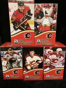COMPLETE SET OF 5 BOBBLEHEADS 2010 CALGARY FLAMES 30th ANN NEW/MINT IN BOX NHL