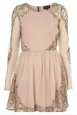 Topshop Nude Lace Cobweb Panel Chiffon Skater Vtg Celeb Prom Tea Dress 12 8 40