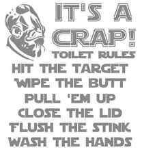 "7.5""x8.25"" It's a Crap! Toilet Rules - Star Wars Vinyl bathroom Decal Sticker"