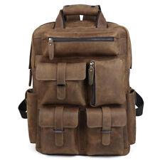 """Retro Leder Herren 17"""" Laptop Rucksack Wandern Schultasche Weekender Backpack"""