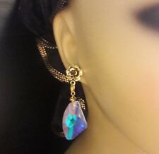 pierced earrings beautiful gift Iridescent Faceted Crystal golden bronze flower