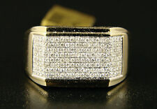 MENS YELLOW GOLD GENUINE BAND DIAMOND XL RING .85 CT