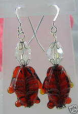 Artisan VIntage Crystal Glass Fish Earrings CAT RESCUE