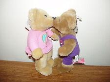 Nwt - Hallmark - Love & Kiss Kiss Bears - Brown W/ Hearts - Magnetic Noses