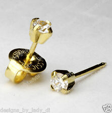 14kt Yellow Gold 3mm CZ Cubic Zirconia Ear Piercing Earrings Studex System 75