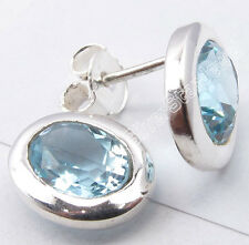 "925 Pure Silver Fancy BLUE TOPAZ STUNNING Studs Earrings 0.4"" FACTORY DIRECT"