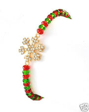 Christmas / Winter Faceted Red Green Beads & Crystal Gold Snowflake Bracelet