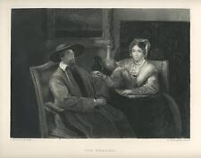 ANTIQUE DUTCH COSTUME WOMAN READING TO MAN HE DOZES OFF FALLS ASLEEP ART PRINT