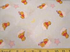 Winnie the Pooh & Piglet Star Watching Cotton Fabric Light Blue BTY