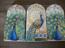 SET OF 3 GORGEOUS PEACOCK  DIE CUT FOIL EMBELLSHIED DEMINSIONAL GIFT TAGS