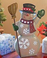 """Lighted-Color Changing-Battery Operated--Metal SNOWMAN Decoration...17"""" High"""
