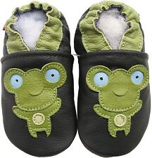 carozoo frog black 6-12m soft sole leather baby shoes