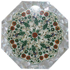 "15""x15"" Lapis lazuli Marble inlay table top floral mosaic design"