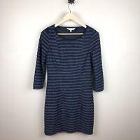 Yumi Women's Striped Scallop Navy Blue Gray Metallic Dress Size 8 / 10