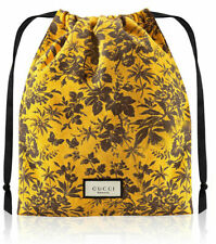 GUCCI Beauty yellow black floral makeup pouch cosmetic case drawstring bag new