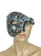 Steampunk Half Mask Gear Spike Punk Goth Fetish Burning man Antique Silver