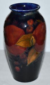 """Antique 5"""" Moorcroft Vase Plum & Leaves Design Cobridge Mark Estate!"""