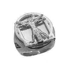 New Leonardo Da Vinci code Vitruvian Man Ring Sterling Silver 925 HEAVY JEWELRY