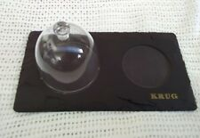6 x Krug Champagne slate serving platters with glass dome  new
