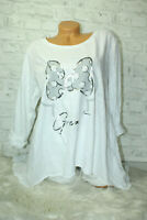 Italy Shirt Pulli Mickey Mouse Gr.36 38 40 42 Shirt Oversized Long Puder weiß