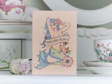 Sailors Ruin Mermaid tattoo luxury handmade blank birthday card