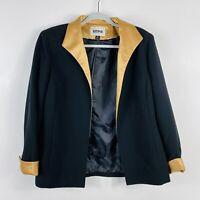 Kasper Size 10 Black Gold Satin Trim Open Blazer Jacket Career Business Work