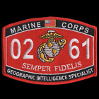 MOS 0261 GEOGRAPHIC INTELLIGENCE SPECIALIST HAT PATCH CAP US MARINES WOW