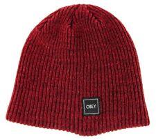8e218f538c1 Obey Unisex Daily Beanie Warm Soft Headwear Red Burgundy One Size