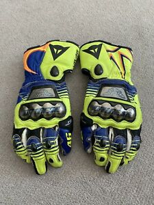 Dainese Full Metal 6 Leather Motorcycle Race Gloves Medium - Blue  / Yellow Fluo