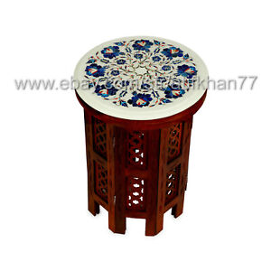 Round Side Table Marble Inlay Small Coffee Table Lapis Lazuli Home Decor Gift