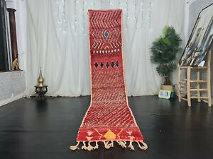 "Handmade Moroccan Boujad Runner Rug 2'4""x11'3"" Red Abstract Wool Berber Carpet"
