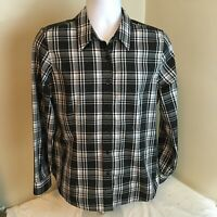 Orvis Womens Shirt Blouse Button Front Black White Gray Plaid Size 14 (Large?)