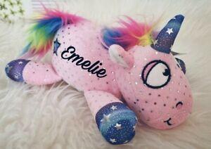 Einhorn mit Name Personalisiert Plüschtier Wunschname Geschenk Unicorn rosa