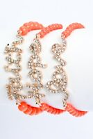 Coral Beaded Stretch Crystal Pave Faith Hope Love Bracelet Set