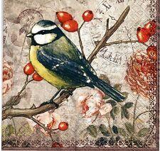 4 x Decoupage Napkins Decopatch Bird on Cranberry Tree