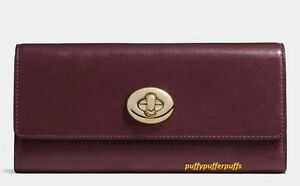 NWT Coach Smooth Leather Turnlock Slim Envelope Wallet F53663 Light Oxblood