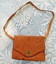 Vintage 1970'S Hand Tooled Leather Purse
