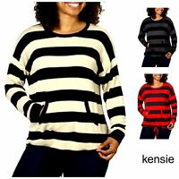 NEW Women's Kensie French Terry Crew Pullover Sweater Striped M252