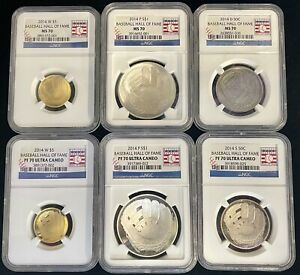 2014 Baseball Hall of Fame Gold Silver Clad 6 Coin Set NGC MS/PF 70 Ultra Cameo