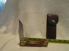 VINTAGE UNCLE HENRY SCHRADE LB7 USA X12344  KNIFE & SHEATH   #B82