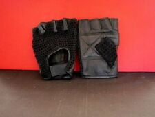BLACK LEATHER FINGERLESS GLOVES - PALM IS LEATHER  - BACK IS MESH -  SIZE LARGE
