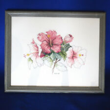Gray Wood Framed Cross Stitch Needlework Picture Rose Pink Hybiscus Flowers