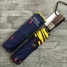RALPH LAUREN ALL OVER POLO LOGO COMPACT UMBRELLA WITH STORAGE POUCH