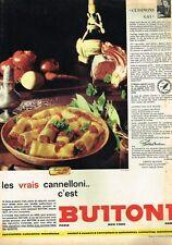E- Publicité Advertising 1962 Les Pates Cannelloni Buitoni